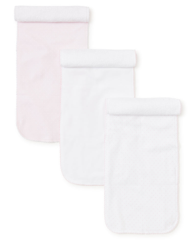 Pink Dot 3 Pack Burp Set w/ Tulle Bag