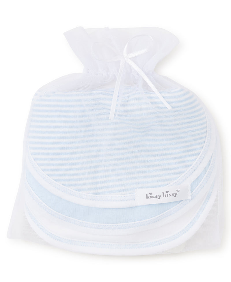 Blue Stripe 3 Pack Bib Set w/ Tulle Bag
