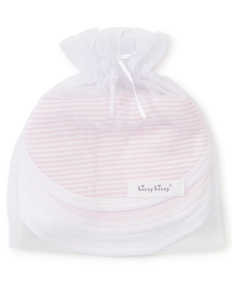 Pink Stripe 3 Pack Bib Set w/ Tulle Bag