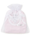 Pink Stripe 3 Pack S/S Bodysuit Set w/ Tulle Bag