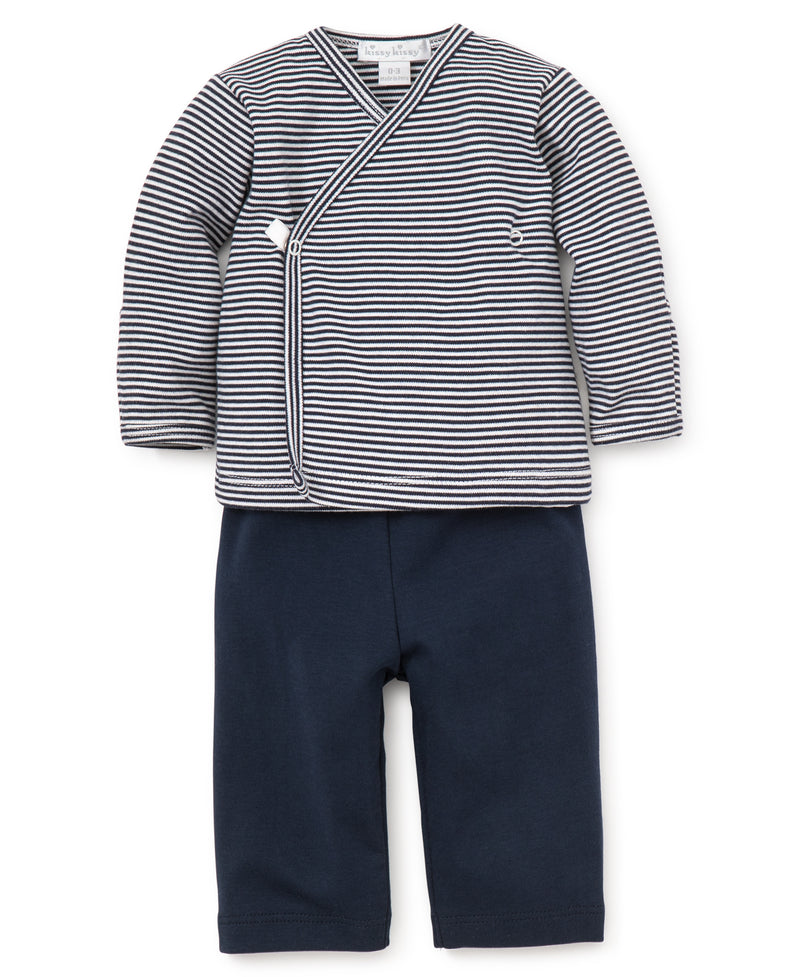 Navy Kissy Essentials Pant Set w/L/S Cross Tee