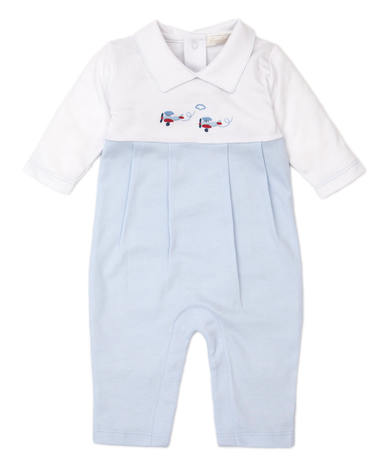 Hand Smocked Premier CLB Fall Medley Blue Playsuit