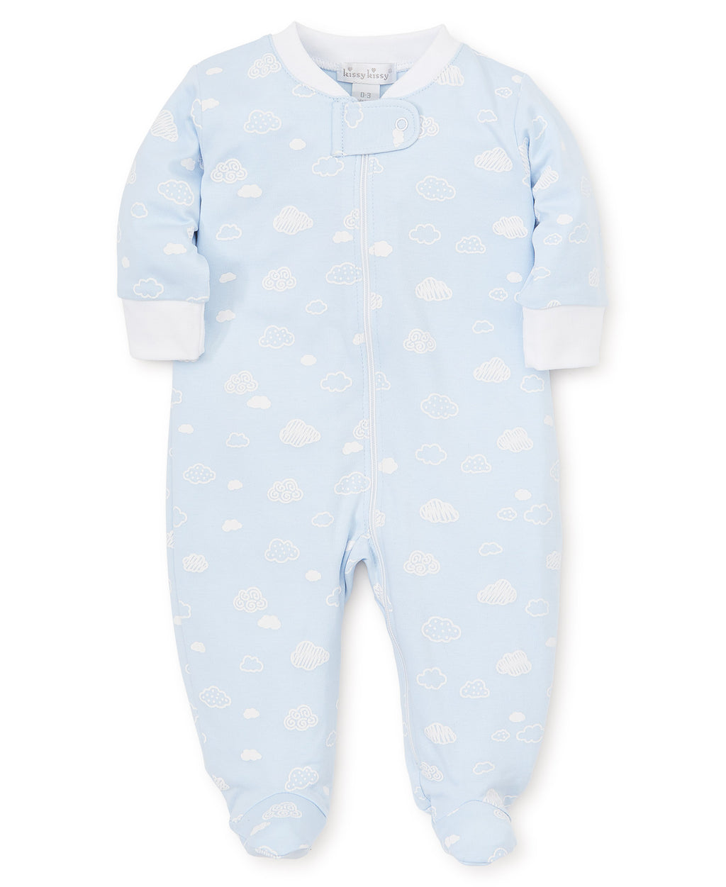 Cotton Clouds Blue Zip Footie