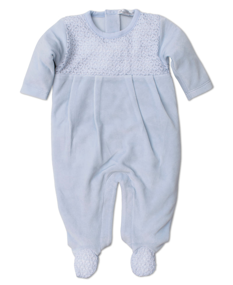 Touch of Elegance Blue Velour Footie with Knit