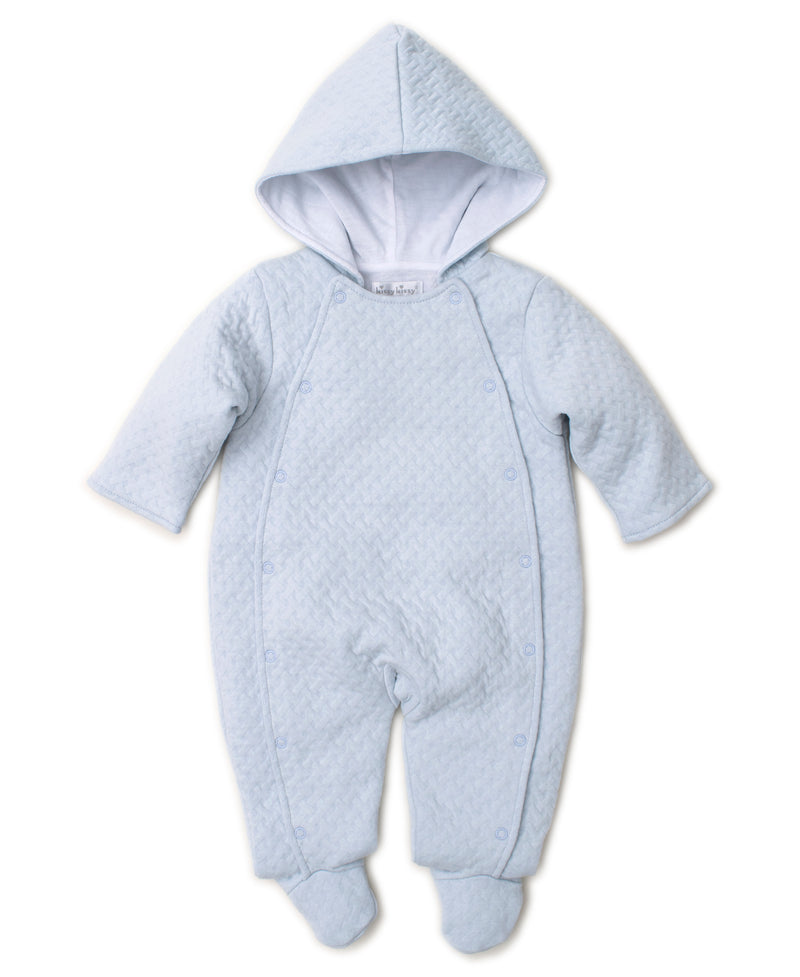 Classic Jacquard Blue Footie with Hood