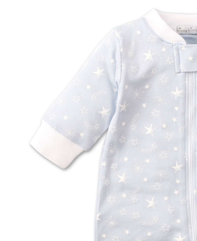 Starry Sky Blue Zip Footie