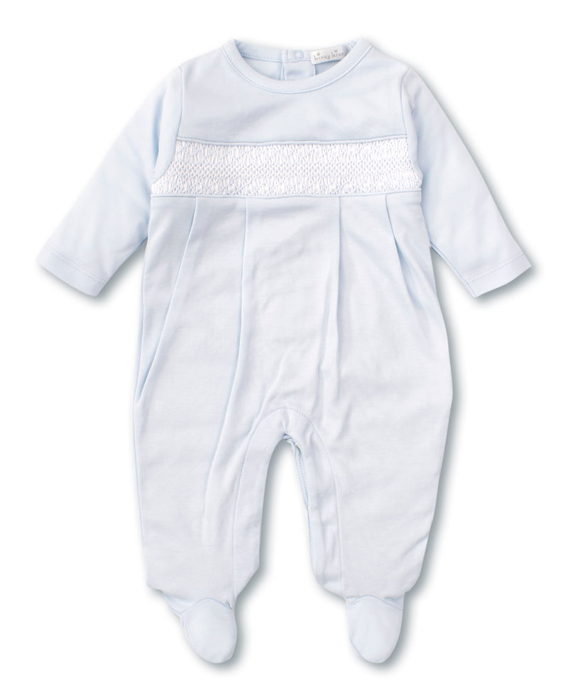 Hand Smocked CLB Charmed Blue Footie