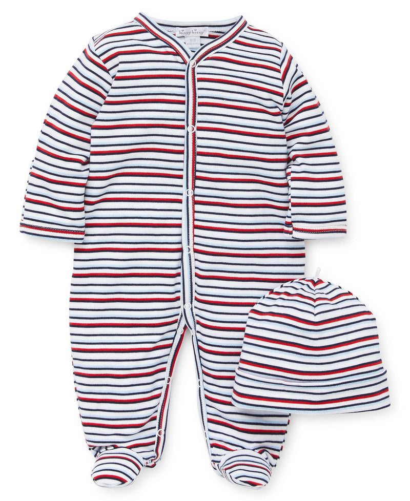 Stripe Footie & Hat Set