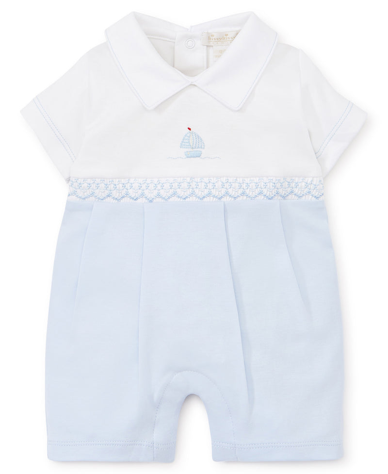 Hand Embroidered Premier Sail Away Blue Playsuit