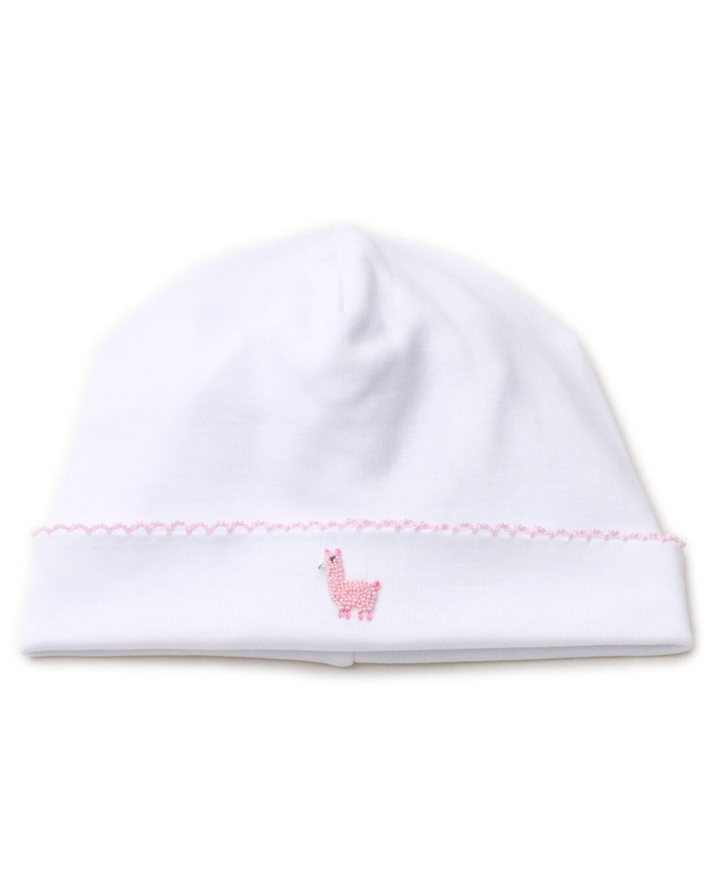 Hand Emb. Premier Llama Family White/Pink Hat
