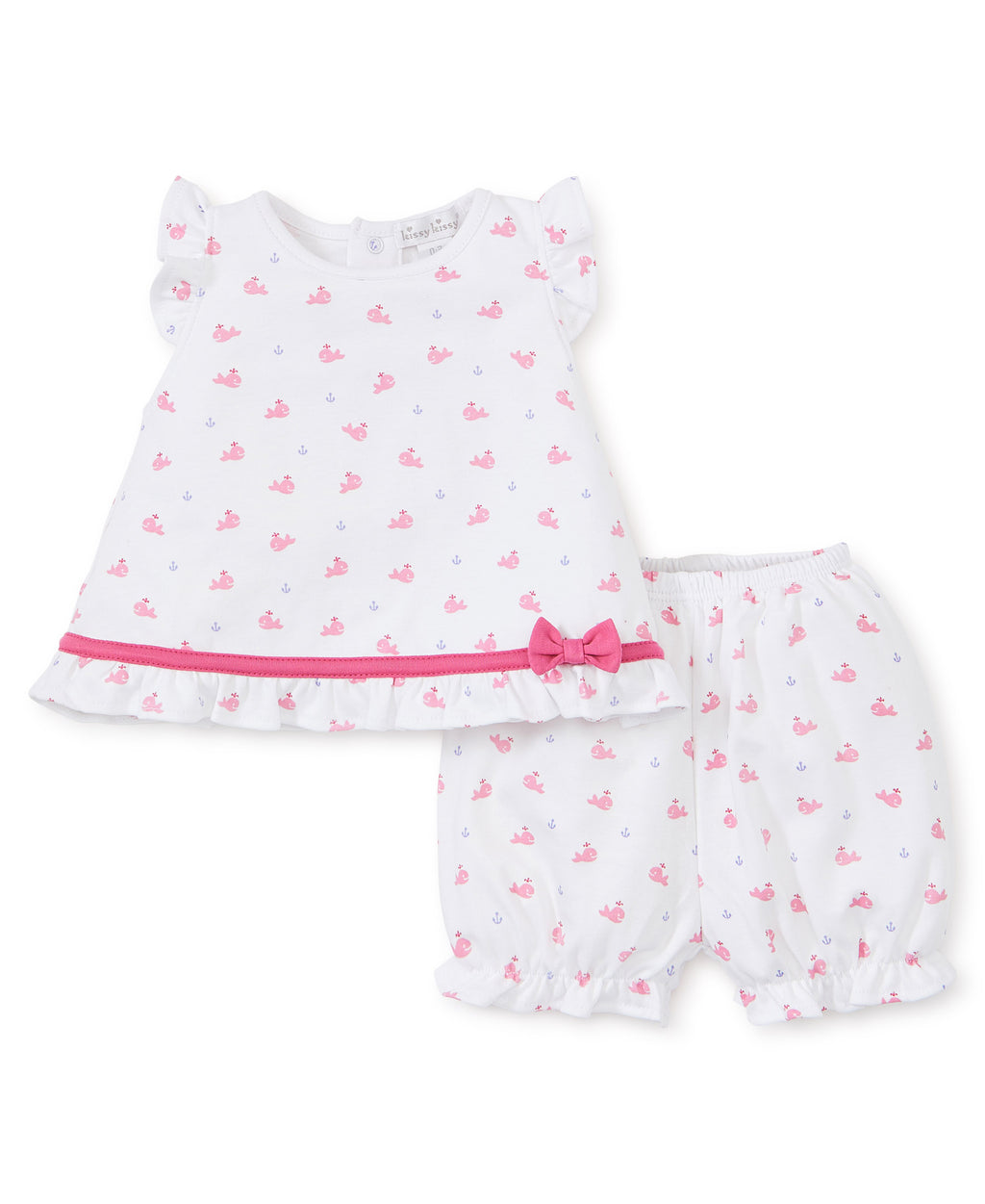 Whales Fuchsia Sunsuit Set