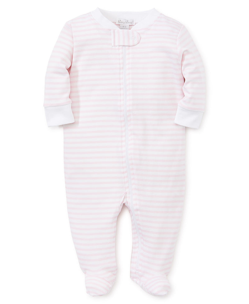 Pink Stripes Zip Footie