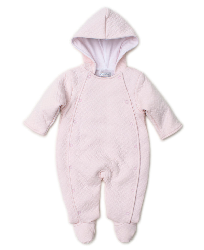 Classic Jacquard Pink Footie with Hood