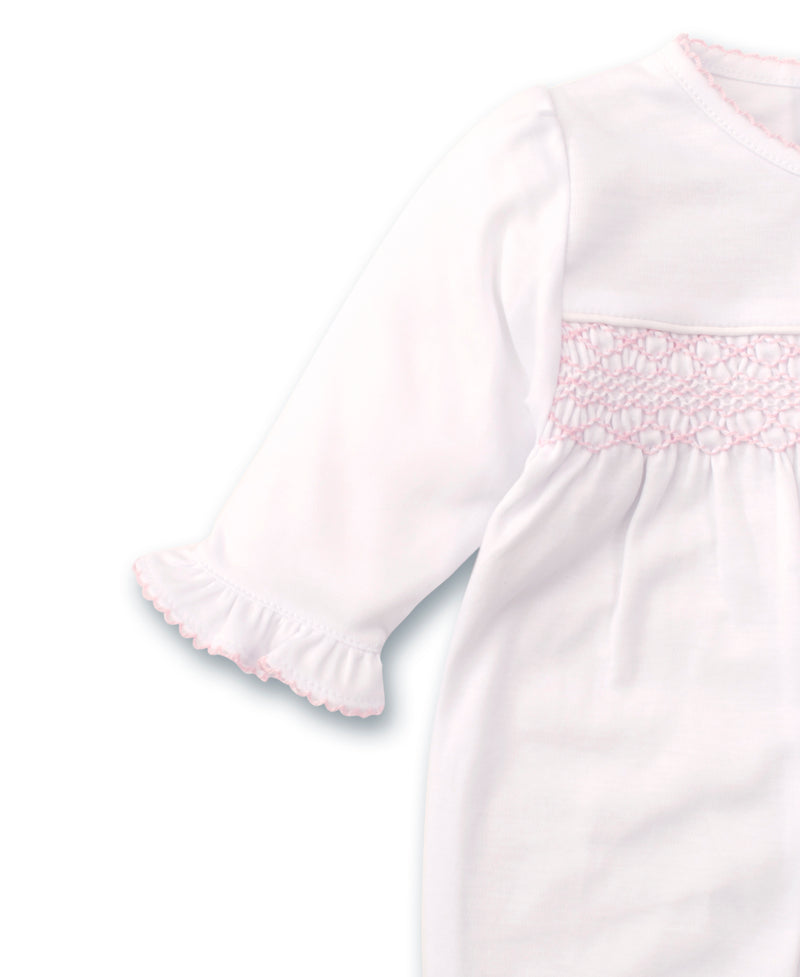 Hand Smocked CLB Charmed White/Pink Footie