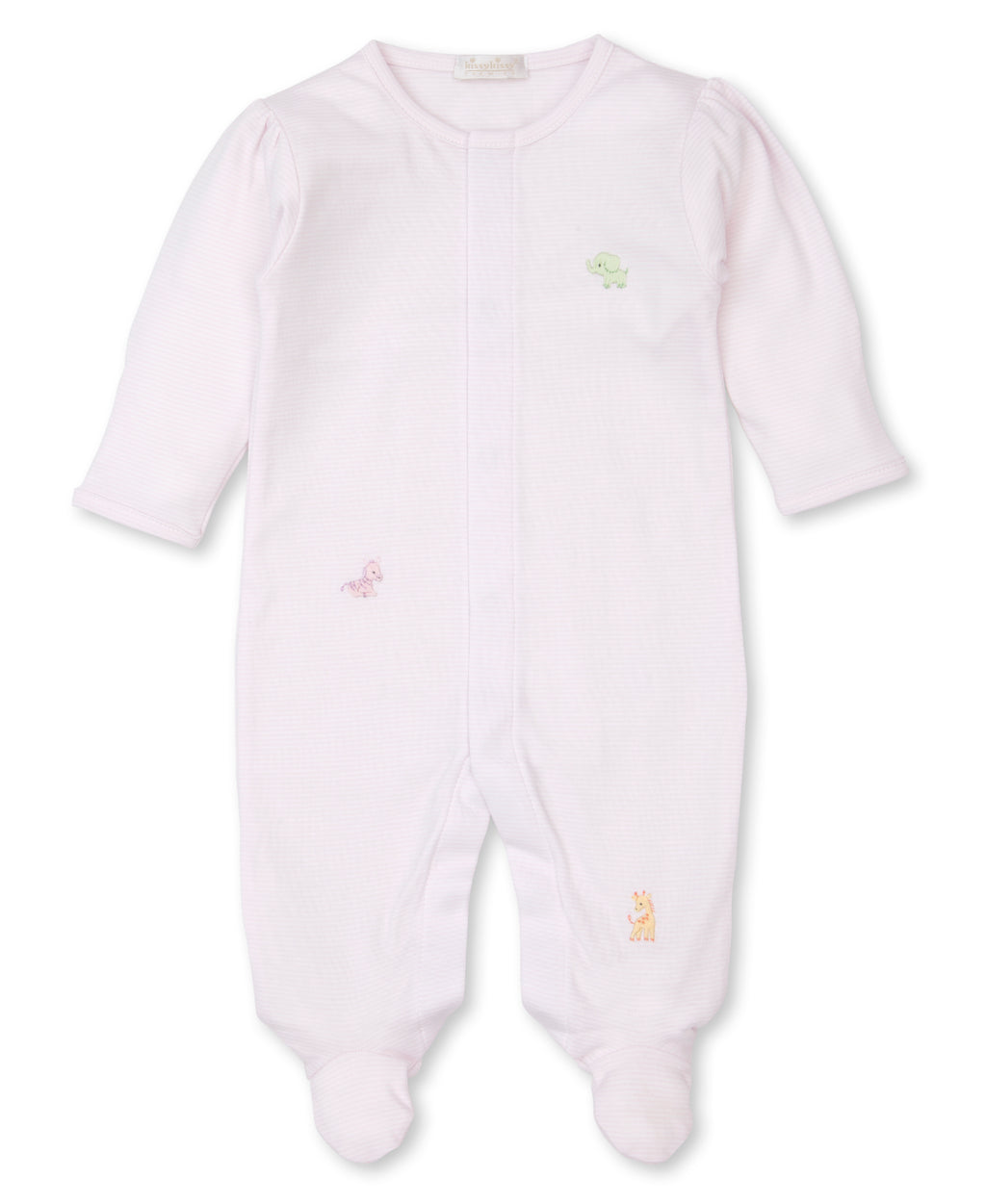 Hand Emb. SCE Jungle Babies Stripe Pink Footie