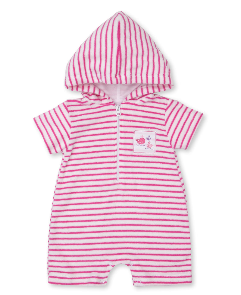 Breaching Whales Stripe Terry Romper