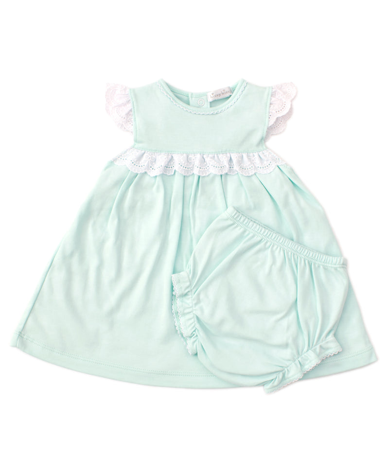 Elegant Eyelet Mint Dress Set