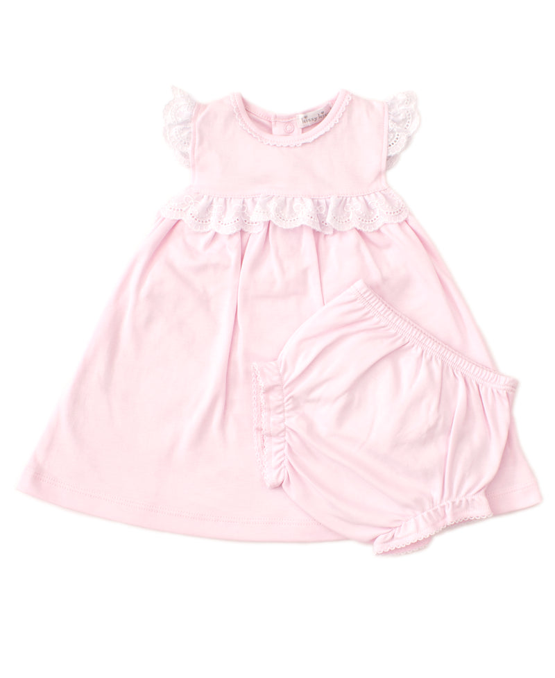 Elegant Eyelet Pink Dress Set