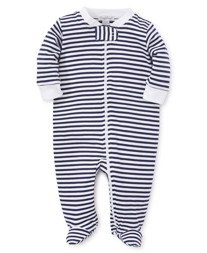Navy Stripes Zip Footie