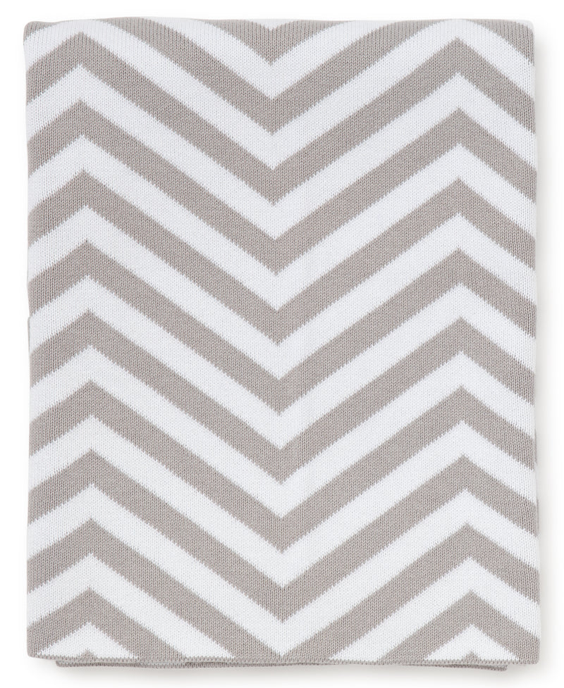 Gray Chevron Knit Novelty Blanket