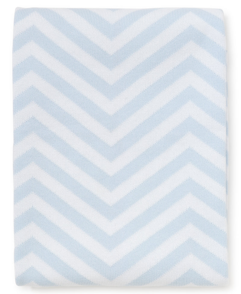 Blue Chevron Knit Novelty Blanket