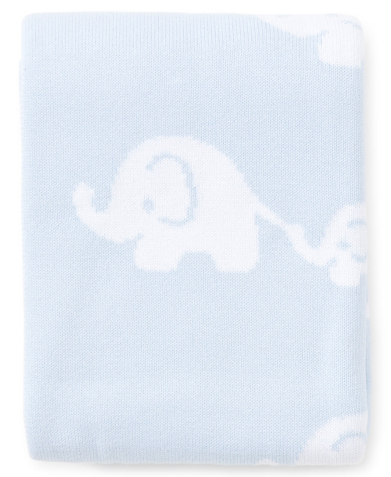 Blue Elephant Knit Novelty Blanket