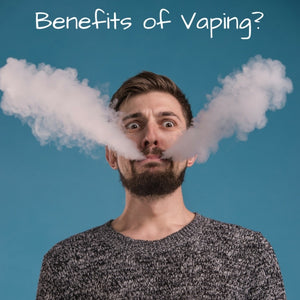 Man with vapor coming from mouth - title says Benefits of Vaping?
