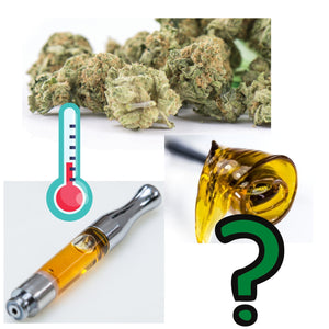 Image of dried marijuana, oil vape cartridge, dabbing wax with illustration of a thermometer and question mark