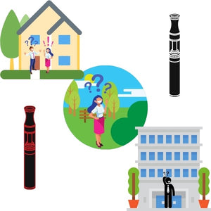 Graphics of Vapes, People, Home, Park, Building