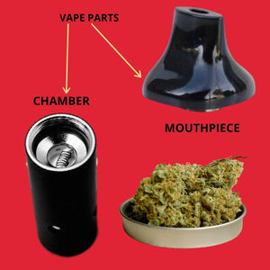 Vape Parts Chamber and Mouthpiece and Dry Marijuana