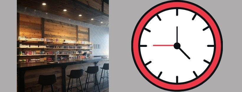 Vape Shop with Graphic of Clock