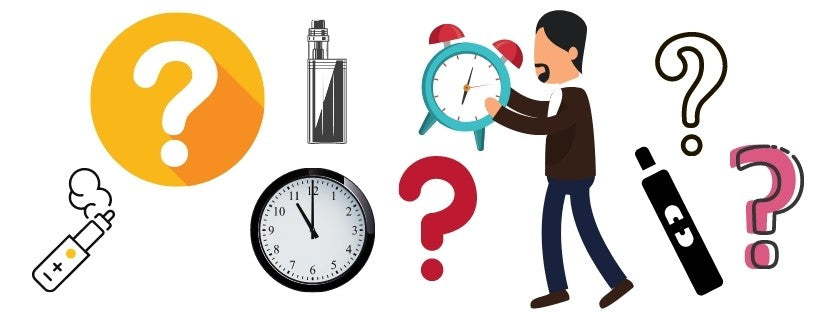Graphics of Question Marks, Man Holding Clock, Vapes