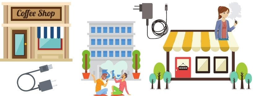 Graphics of Different Buildings and Chargers and People Vaping