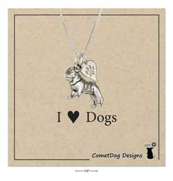 "Sterling Silver 18"" Pug Pendant Necklace with Dog Paw Print Heart"