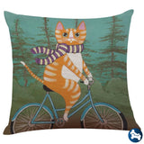 Bicycle Cat 18X18Inch Multicolor / A
