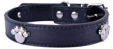 Silver Paw Leather Collar