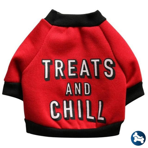 Barktek Treats And Chill Dog Puppy Sweater Red / L
