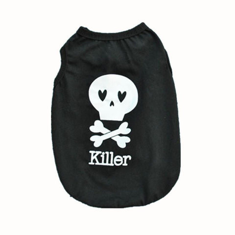 SillyPup Killer Skull Heart Dog T-Shirt
