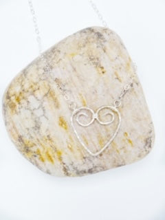 sterling silver heart necklace shown a large rock