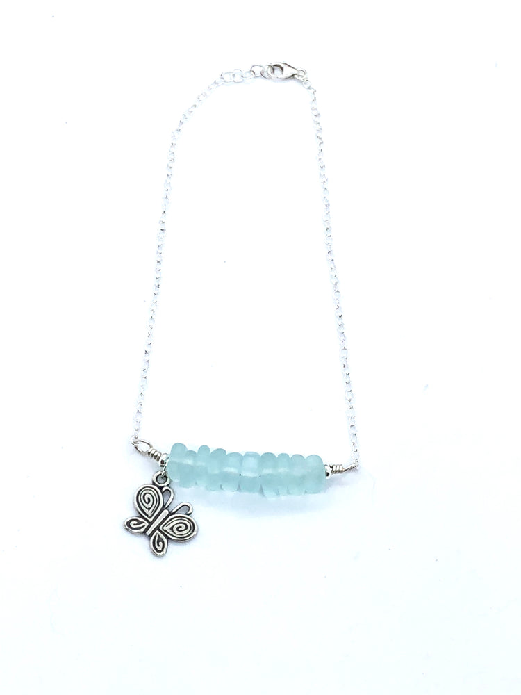 Butterfly Over The Sea Anklet| Handcrafted recycled sea glass and butterfly charm anklet