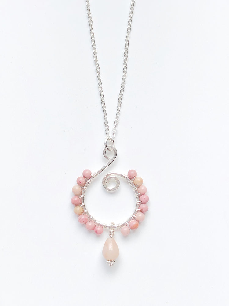 Rhodonite and Sterling Silver Necklace