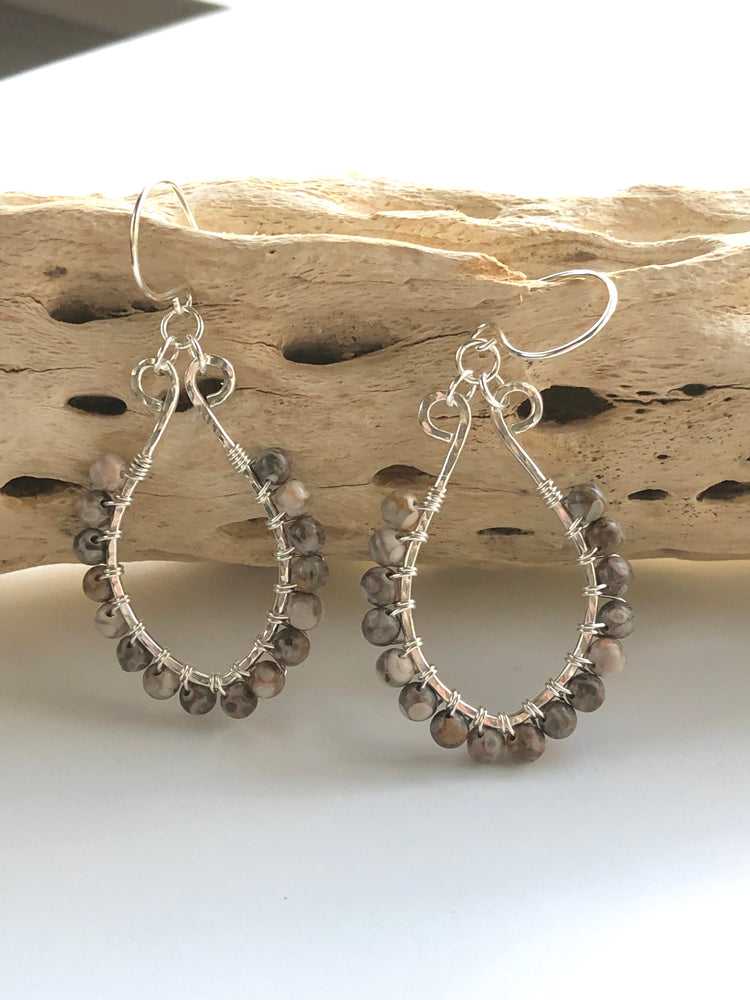 Wire wrapped maifanite and sterling silver earrings