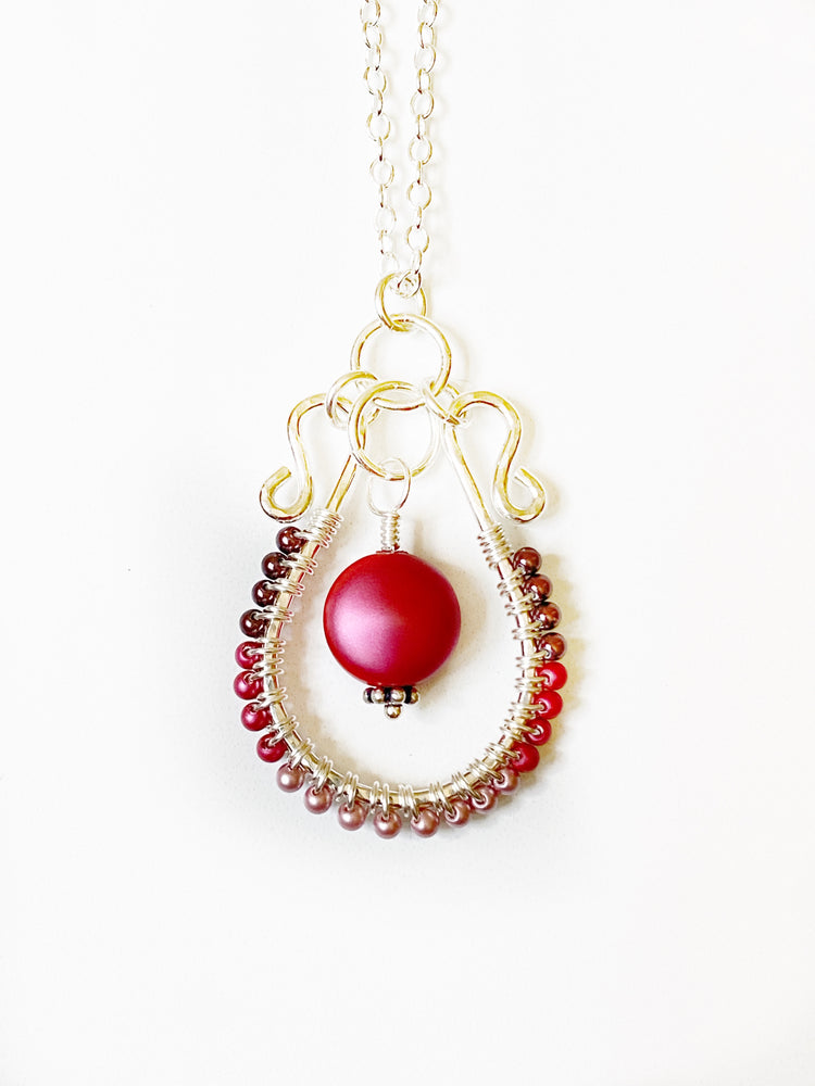 Strawberry Sunshine Necklace | Sterling Silver and Swarovski Pearl hand formed necklace