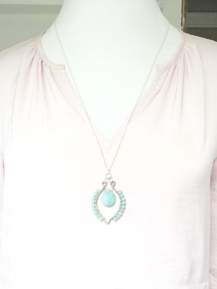 Pale Blue Waves | Sterling and Amazonite Necklace