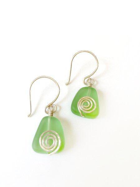 Handmade recycled glass and sterling silver earrings|Sea Green Swirls