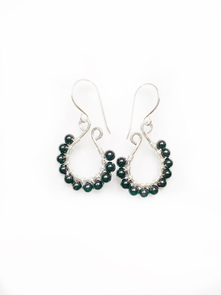 Black Onyx beads wire wrapped onto Sterling silver earrings