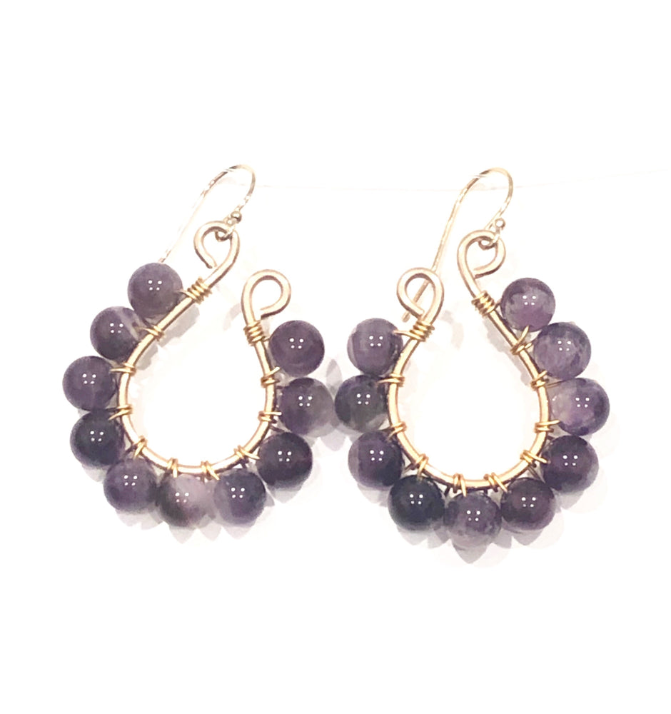 Amethyst and Gold Filled Wire Wrapped Earrings