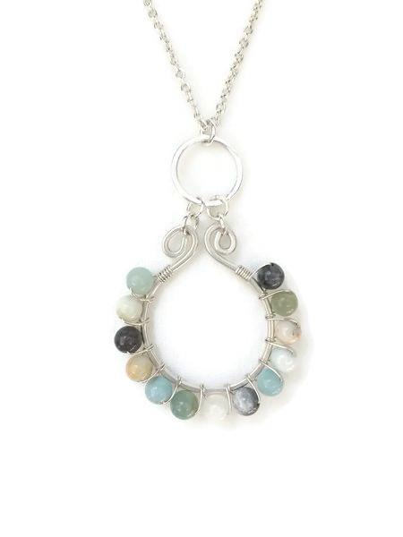 Sterling Silver and Amazonite  wire wrapped necklace