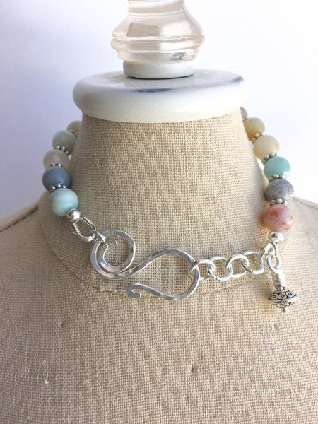 Multicolored Amazonite and Sterling Silver bracelet