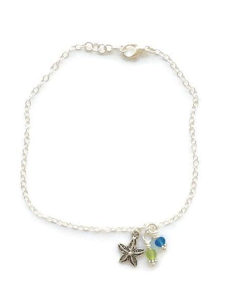 Sterling silver handmade starfish and recycled glass charm anklet